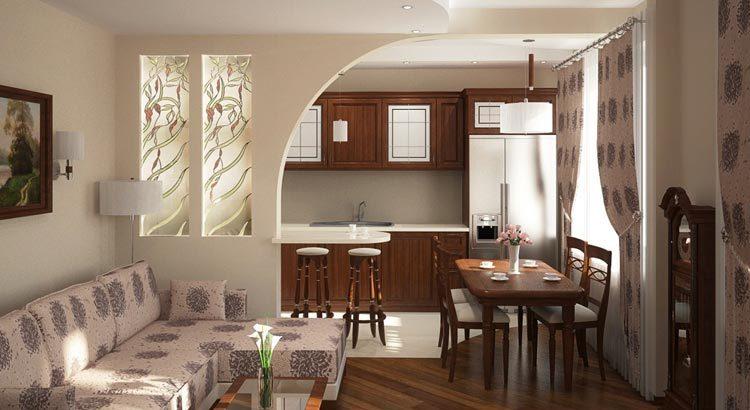 Столовая и гостиная в одном помещении