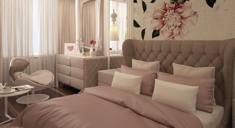 Стильный и уютный интерьер спальной